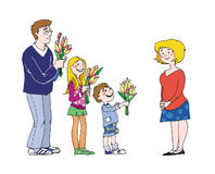 Mother's Day. Congratulations on Mother's day vector illustration