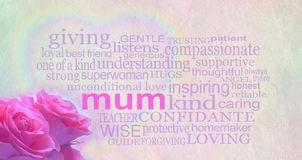 Mother's day background banner. Background with light colored rustic parchment effect and loving words surrounding the main word 'mum' with a rainbow heart royalty free stock photo