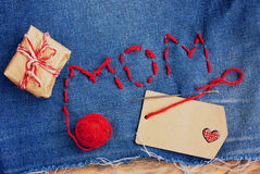 Mother's Day background, denim embroidered with letters Royalty Free Stock Images