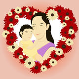 Mother's Day background with flower wreath Stock Image
