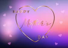 Mother`s day background with gold heart and text royalty free illustration