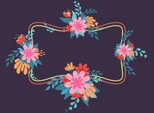 Mother`s day background `happy mother`s day` and ornament of flowers and leaves. royalty free illustration