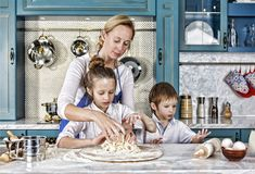 Mother`s day. bake, cooking, family, food, bread, pasta, pizza, together, royalty free stock photos