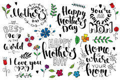 Mother`s day brush pen handwritten lettering set. Modern vector hand drawn calligraphy isolated on white background with abstract flowers for your poster Royalty Free Stock Photos