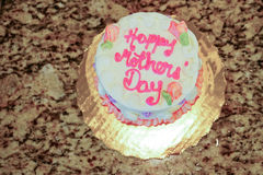 Mother`s day cake. Mini mother`s day cake with pink letter Royalty Free Stock Photos