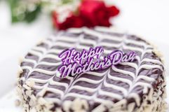 Mother's Day Cake and Roses Stock Photography
