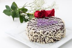 Mother's Day Cake and Roses Stock Image