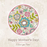 Mother's Day card with big round of spring flowers,  vector Royalty Free Stock Photo
