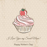 Mother's Day card with  cupcake and wishes text,  vector Stock Photos