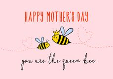 Mother`s day card with cute bee, vector. Mother`s day card with cute bee, you are the queen bee, vector illustration vector illustration