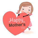 Mother's day card cute girl holding heart vector Stock Images