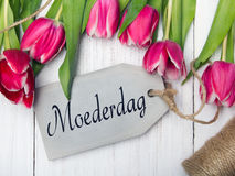 Mother`s day card  with Dutch words: Mother`s day. Stock Photos