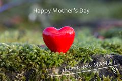 Mother`s Day Card in English red heart in the woods royalty free stock images