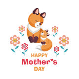Mother`s day card with foxes stock illustration