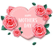 Mother`s day card with heart and pink roses. Happy mother`s day. Vector illustration Royalty Free Stock Photos