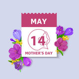 Mother`s Day card. May 14 calendar sheet on bunch of flowers background. Vector illustration in eps10 format Royalty Free Stock Photo