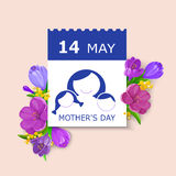 Mother`s Day card. May 14t calendar sheet on bunch of flowers background. Vector illustration in eps10 format Royalty Free Stock Photo