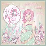 Mother's Day card with mother and child silhouette. Stock Photos