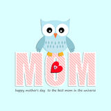 Mother's Day card, with owl and hearts for boy. Royalty Free Stock Photography