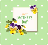 Mother`s day card with pansy flowers on green background. Vector illustration. Stock Photo
