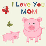 Mother`s day card with Pig and piglet. Cute Mother`s day card with Pig and piglet Royalty Free Stock Photography