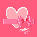 Mother`s day card with pink bow and heart on pink background. Happy mother`s day text Royalty Free Stock Photos