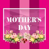 Mother`s day card, Pink color, Flower.  vector illustration