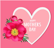 Mother`s day card with pink peony and heart on pink background. Happy mother`s day text Stock Photos