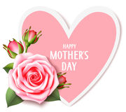 Mother`s day card with pink rose and heart isolated on white. Happy mother`s day text Royalty Free Stock Photos