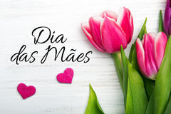Mother`s day card with  Portuguese words: Happy Mother`s day Stock Photo