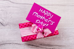Mother`s Day card and present. Royalty Free Stock Image