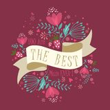 Mother`s Day card with ribbon and flowers. royalty free illustration