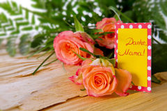 Mother's Day card and roses. Stock Images