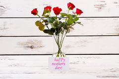 Mother`s Day card and roses. royalty free stock photo