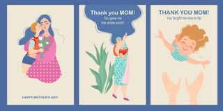 Mother`s day card set with cute cartoon characters vector illustration