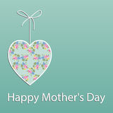Mother's Day card, with shabby chic heart Royalty Free Stock Image