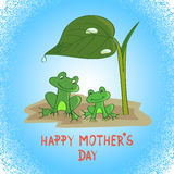 Mother's day card template. Cartoon frogs under the leaf. Stock Images