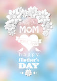 Mothers day card, white text on blurred background Royalty Free Stock Photography