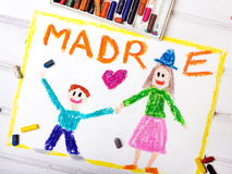 Mother`s Day card with word MADRE Royalty Free Stock Photos