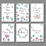 Mother`s Day cards set with floral background. Doodle style template, greeting card. Vector illustration Stock Image
