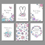 Mother`s Day cards set with floral background. Doodle style template, greeting card. Vector illustration Stock Photography