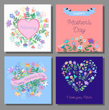 Mother`s Day cards set with floral background. Royalty Free Stock Photos
