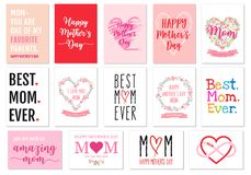 Mother`s day cards, vector set Stock Photos