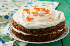 Mother's day carrot cake with swirls cream cheese frosting Royalty Free Stock Images