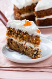Mother's day carrot cake with swirls cream cheese frosting Stock Photography