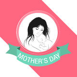 Mother`s Day celebration card, Mother and Baby. Day, mother, mothers, mom, vector, happy, baby, illustration, card, woman, background, design, son, beautiful Royalty Free Stock Photo