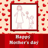 Mother's day. Child's drawing son gives mom a flower. Vector illustration Royalty Free Stock Images