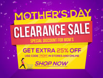 Mother's Day, Clearance Sale Poster, Banner or Flyer. Stock Photos