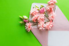 Mother`s Day concept. Bouquet of pink lisianthus, chrysanthemums with envelope. Blank paper note for copy space.card in. Mother`s Day concept. Bouquet of pink royalty free stock photos