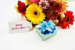 Mother's Day Concept - Post card with colorful flowers. Royalty Free Stock Images